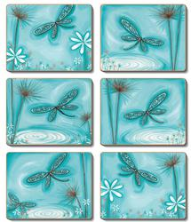 Cinnamon 'Blue Dragonfly' Coasters Set of 6