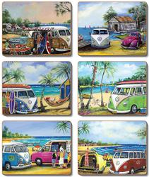 "Cinnamon 'Kombi"" Coasters Set of 6"