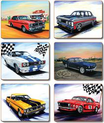 Cinnamon 'Muscle Cars' Coasters Set of 6