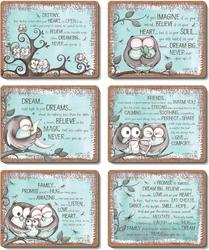 Cinnamon 'Mint Owl' Coasters set of 6