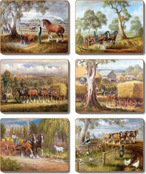 Cinnamon 'Working Horses' Placemats Set of 6