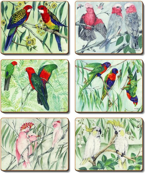 Cinnamon 'Australian Parrots' Placemats Set of 6
