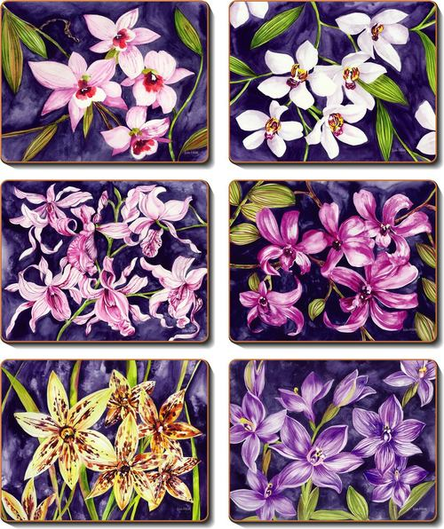 Cinnamon 'Orchid Garden' Placemats Set of 6
