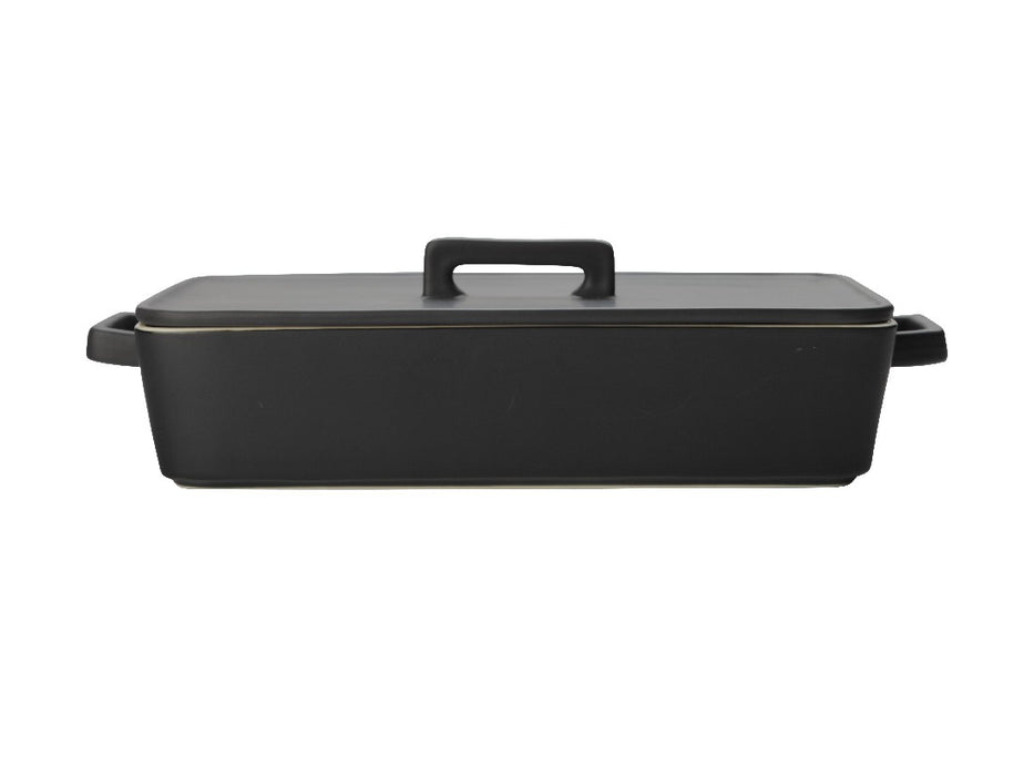 MW Epicurious Rectangular Baker with Lid 32x22.5x7cm Black Gift Boxed