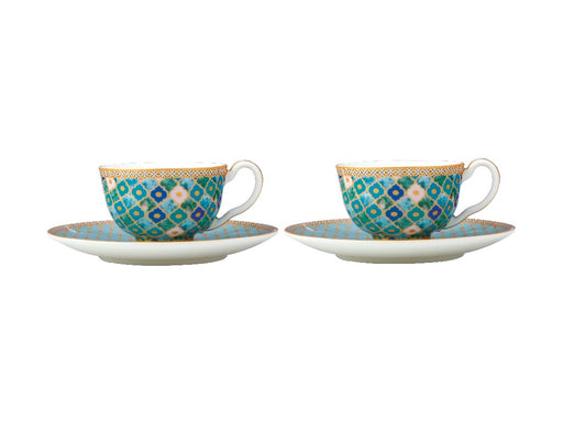 MW Teas & C's Kasbah Demi Cup & Saucer 85ML Set of 2 Mint Gift Boxed