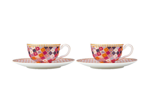 MW Teas & C's Kasbah Demi Cup & Saucer 85ML Set of 2 Rose Gift Boxed