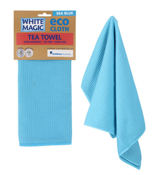 White Magic Tea Towel Eco Cloth - Sea Blue