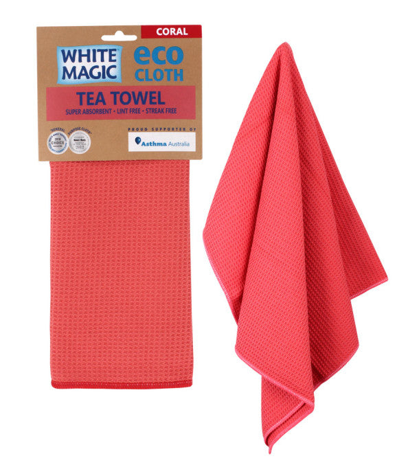 White Magic Tea Towel Eco Cloth - Coral