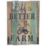 DWBH Wall Sign - Life is better on the Farm - Green with 2 hanging hooks