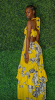Yellow Polka Dot Flower Print Maxi Dress With Halter Top Neckline