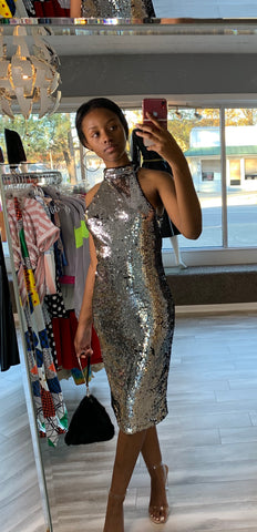 Sexy Silver Sequin Party Dress With Slit