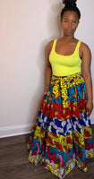 Multi Color-Yellow,RoyalBlue,Pink,Grey,Red Flower Skirt #1
