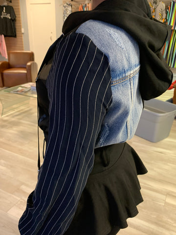 Denim Pinstripe Jacket with Hood
