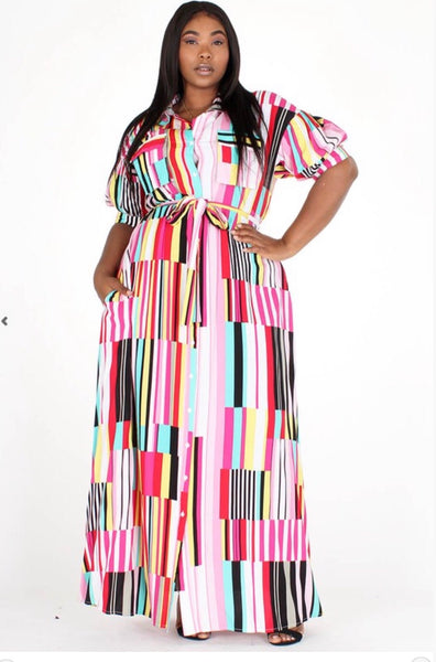 Pink Multi Striped Maxi Dress
