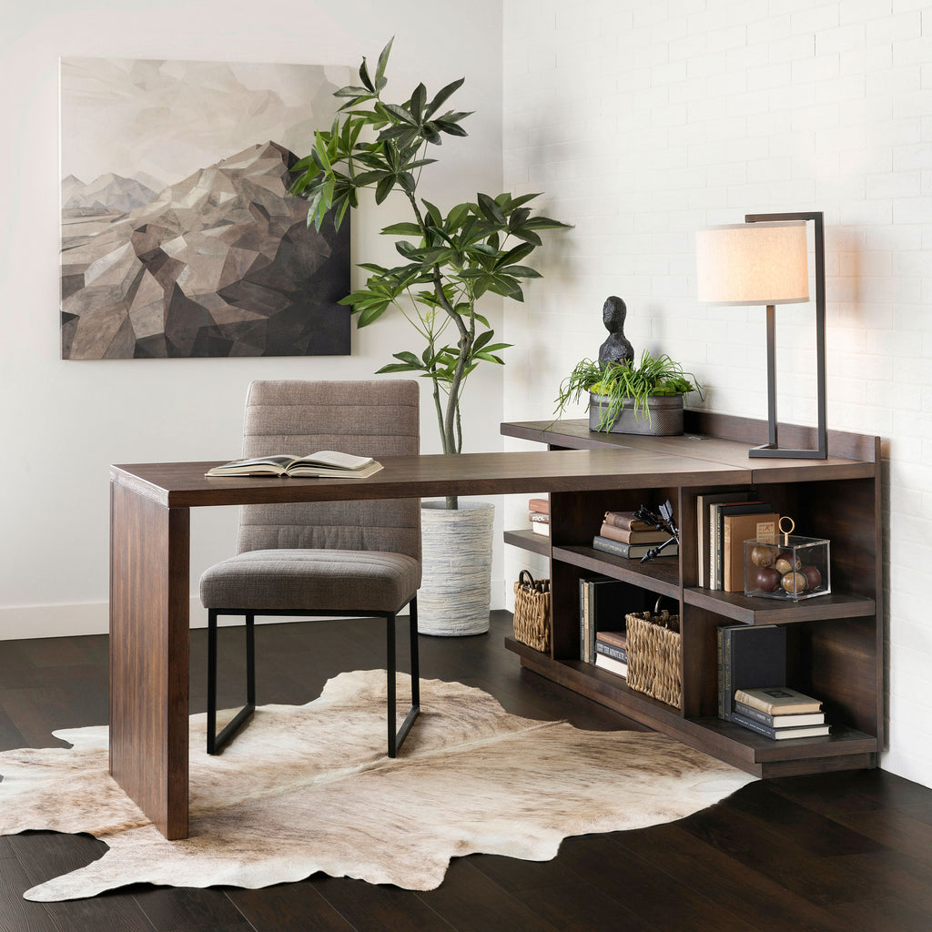 Perspectives Brushed Acacia Bookcase Desk