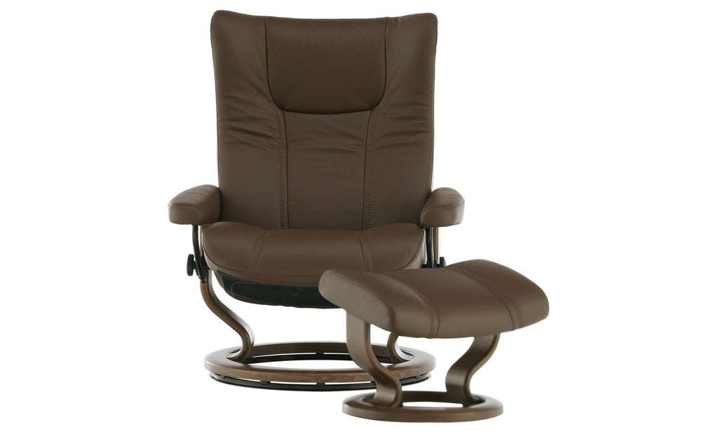Stressless Wing Chesnut Chair And Ottoman Large