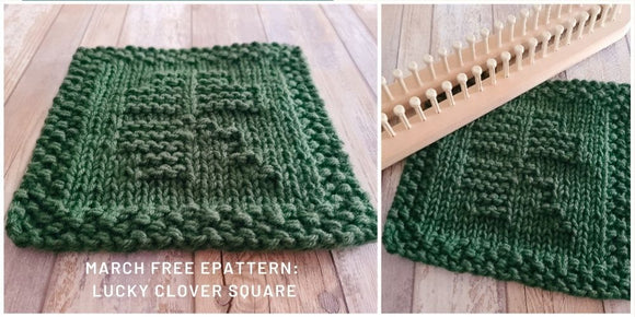 March Free Loom Knit ePattern Lucky Clover Square