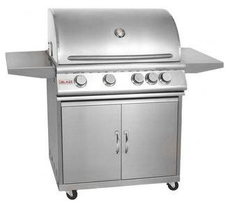 Blaze 32 Inch 4-Burner Natural Gas Grill With Rear Infrared Burner On Cart
