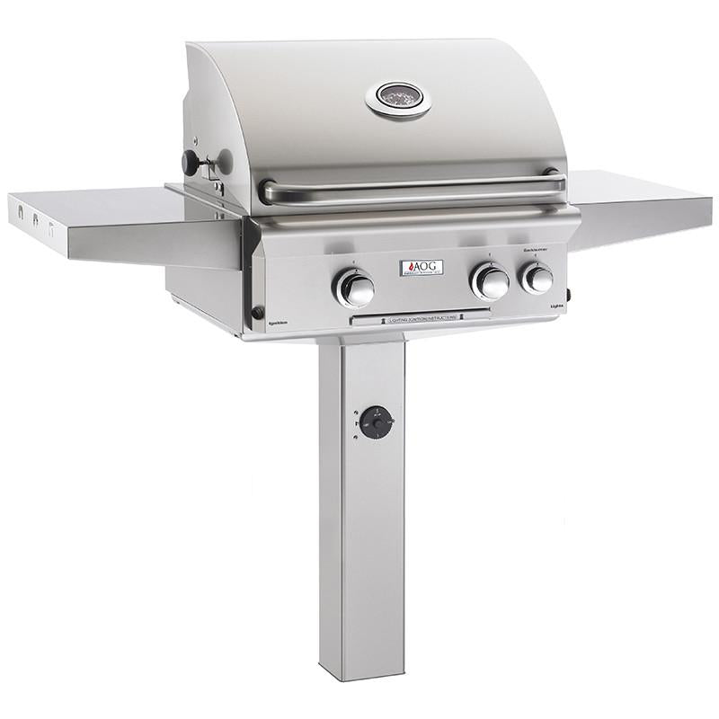 "24"" American Outdoor Grill L-Series On In-Ground Post Mount Grill w/ Lights and Rotisserie, Natural Gas"