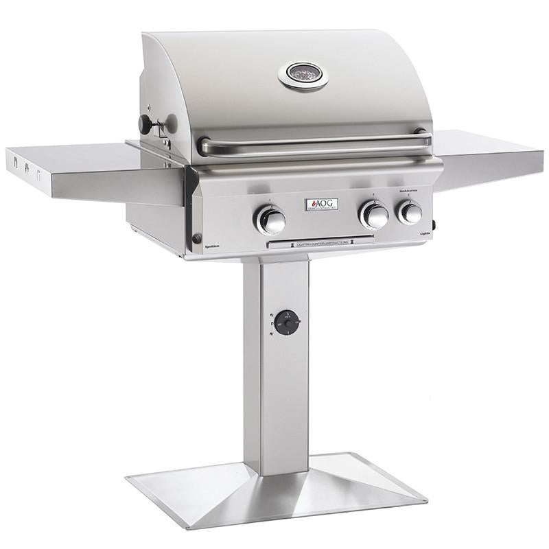 "24"" American Outdoor Grill L-Series On Patio Post Mount Grill w/ Lights and Rotisserie, Liquid Propane"