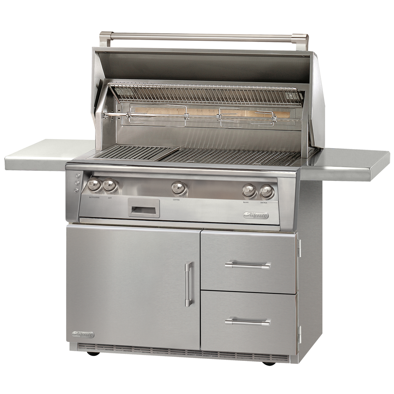 "42"" Alfresco ALXE Gas Grill w/ Rotisserie On Refrigerated Cart, Natural Gas"