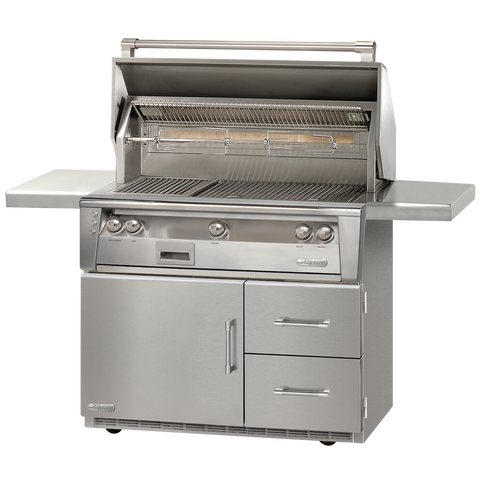 "42"" Alfresco ALXE Gas Grill w/ Sear Zone & Rotisserie On Refrigerated Cart, Liquid Propane"