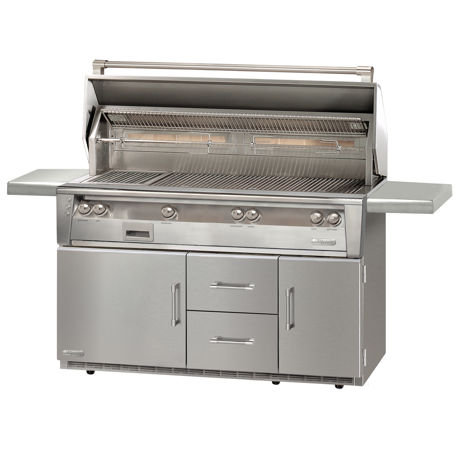 "56"" Alfresco ALXE Gas All Grill w/ Sear Zone & Rotisserie On Refrigerated Cart, Natural Gas"