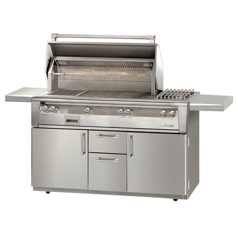 "56"" Alfresco ALXE Gas Grill w/ Sear Zone, Rotisserie & Side Burner On Cart, Natural Gas"