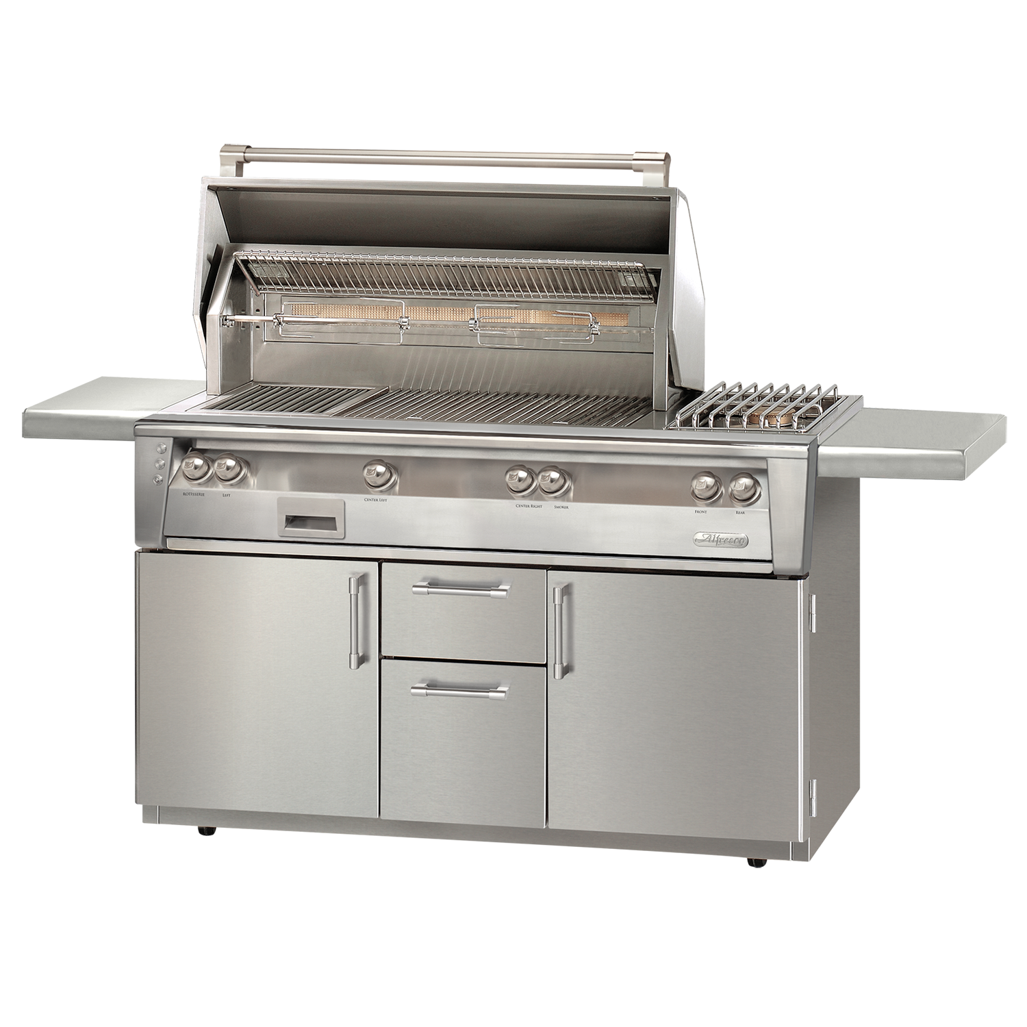 "56"" Alfresco ALXE Gas Grill w/ Rotisserie & Side Burner On Cart, Liquid Propane"