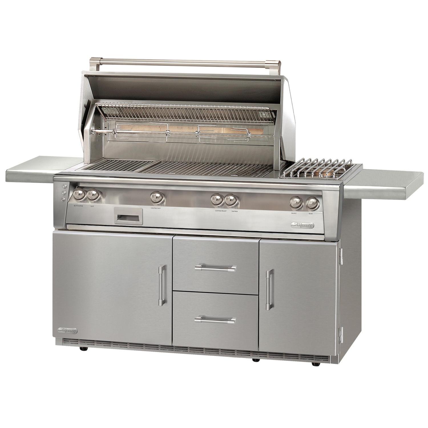 "56"" Alfresco ALXE Gas Grill w/ Sear Zone, Rotisserie & Side Burner On Refrigerated Cart, Liquid Propane"