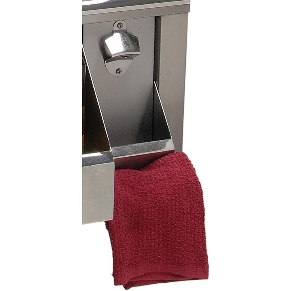 "Alfresco Bottle Opener w/ Cap Catch & Towel Rack for 30"" Sink"