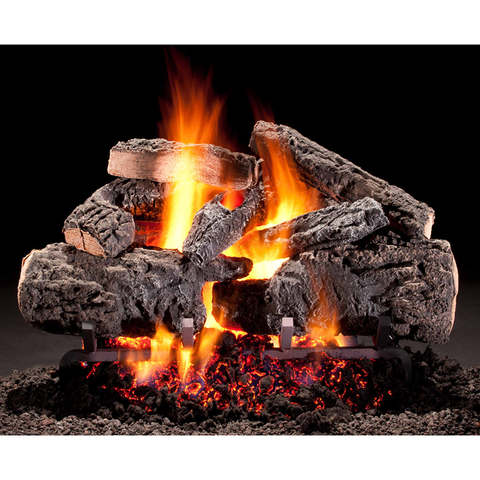 Hargrove Gas Logs Grand Oak Vented Gas Log Set With E-Burner, Natural Gas