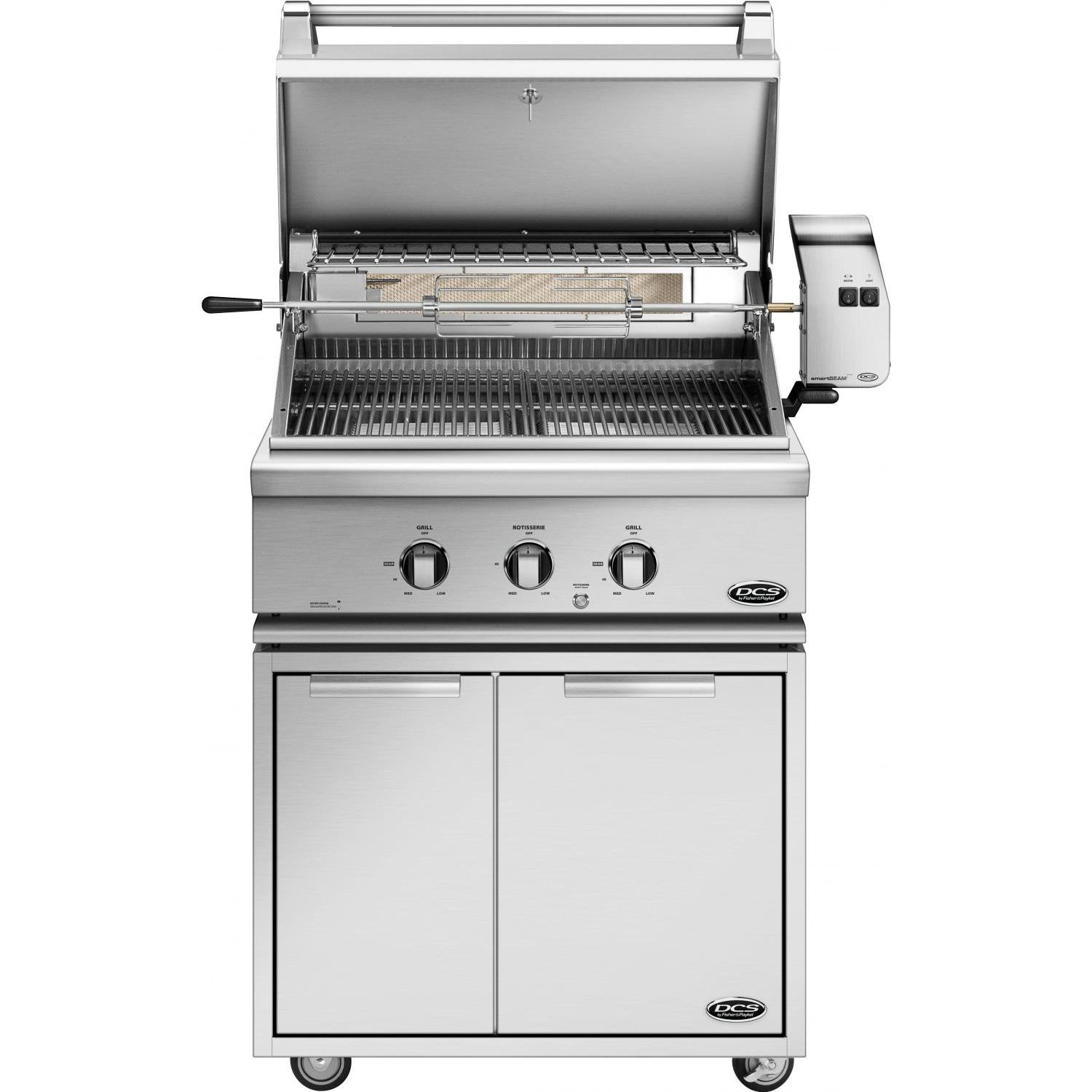 "30"" DCS Freestanding Grill w/ Rotisserie on CAD Cart, Natural Gas"