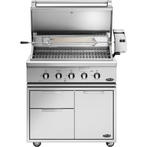 "36"" DCS Freestanding Grill w/ Rotisserie on CAD Cart, Liquid Propane"