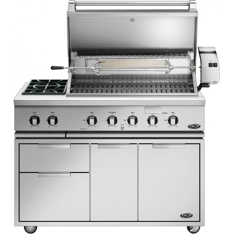 "48"" DCS Freestanding Grill w/ Side Burners and Rotisserie on CAD Cart, Liquid Propane"