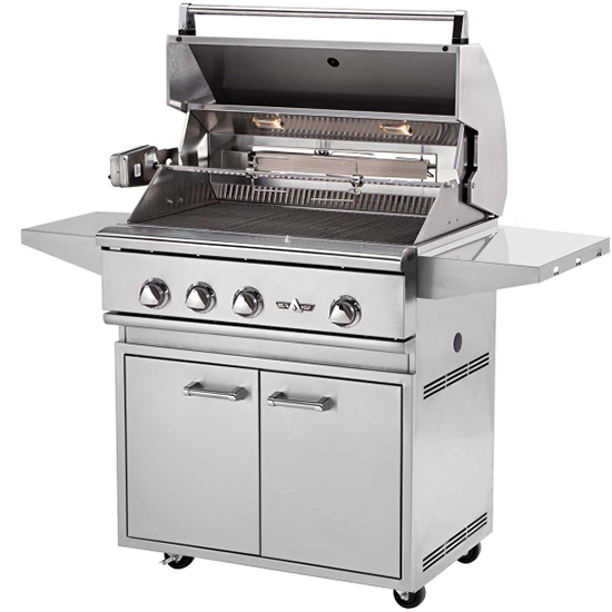 "32"" Delta Heat Freestanding Gas Grill w/ Infrared Rotisserie on Cart, Liquid Propane"