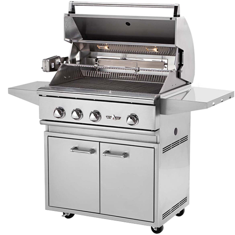 "32"" Delta Heat Freestanding Gas Grill w/ Infrared Rotisserie on Cart, Natural Gas"