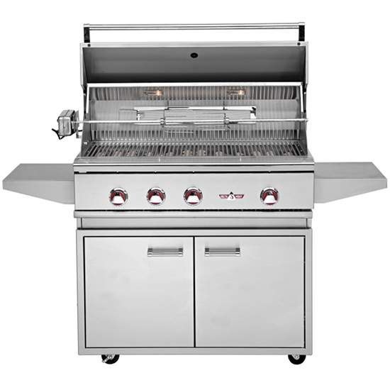 "38"" Delta Heat Freestanding Gas Grill w/ Infrared Rotisserie on Cart, Natural Gas"