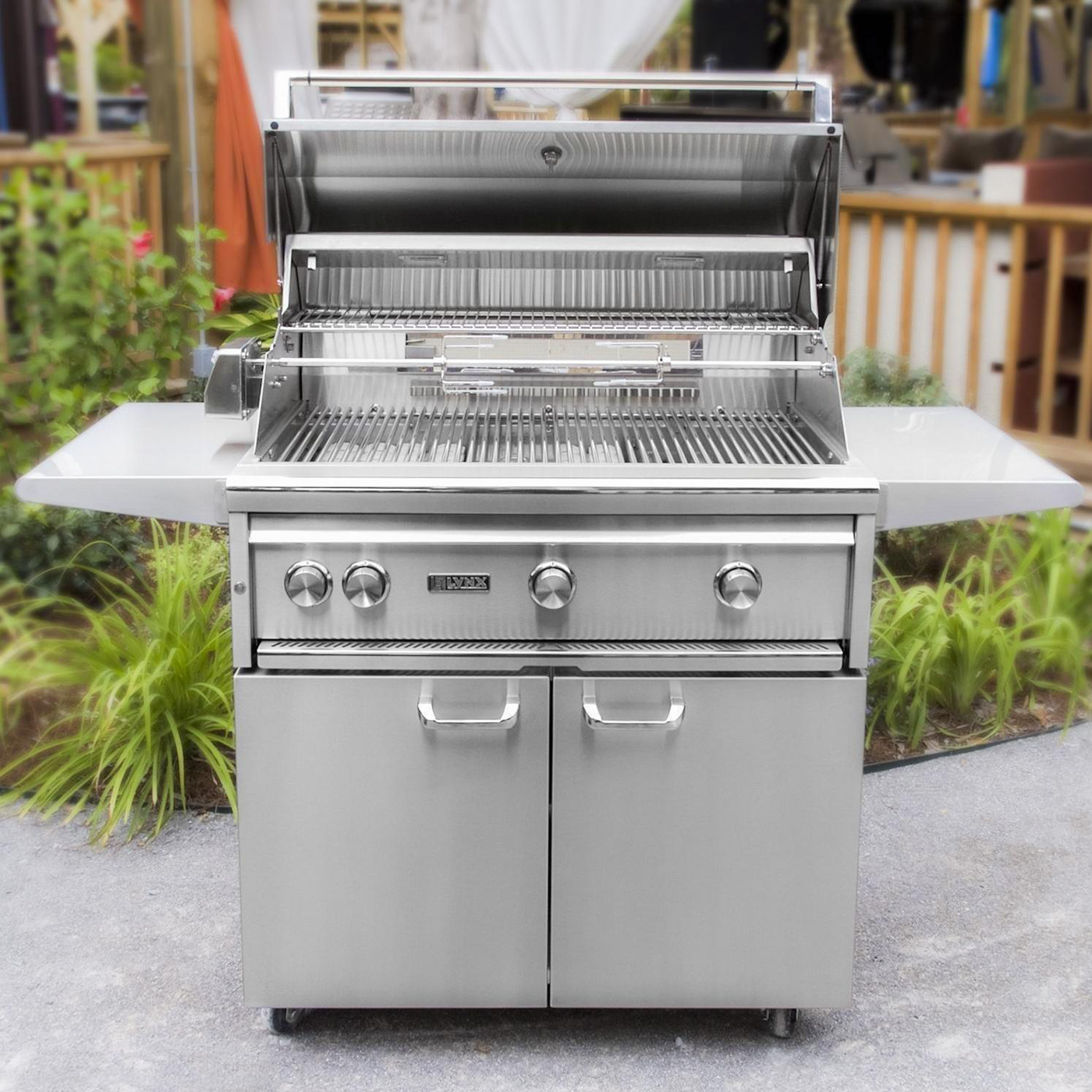 "Lynx 36"" Freestanding Gas Grill w/ Rotisserie and All Trident Burner on Cart, Liquid Propane"