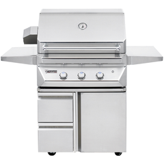 "30"" Twin Eagles Freestanding Gas Grill w/ Infrared Rotisserie on Cart w/ Single Door Plus Storage Drawers, Natural Gas"
