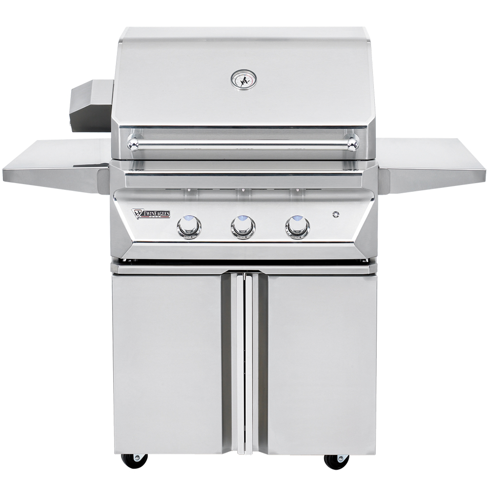 "30"" Twin Eagles Freestanding Gas Grill w/ Infrared Rotisserie on Double Door Cart, Liquid Propane"