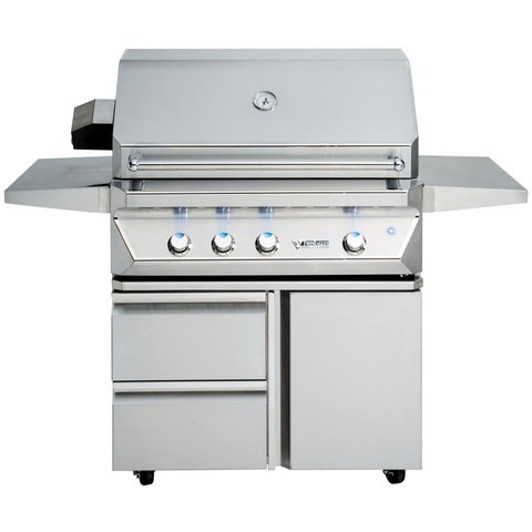 "36"" Twin Eagles Freestanding Gas Grill w/ Infrared Rotisserie on Cart w/ Single Door Plus Storage Drawers, Natural Gas"