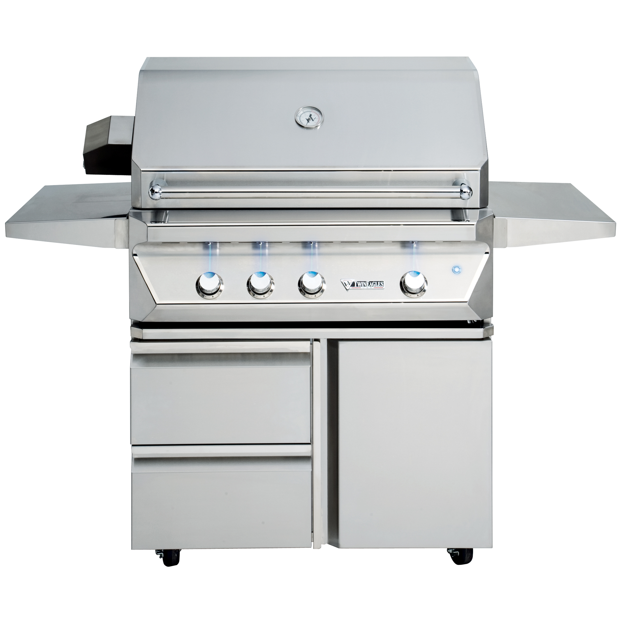 "36"" Twin Eagles Freestanding Gas Grill w/ Infrared Rotisserie on Cart w/ Single Door Plus Storage Drawers, Liquid Propane"