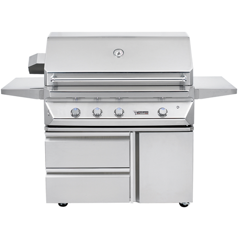 "42"" Twin Eagles Freestanding Gas Grill w/ Infrared Rotisserie on Cart w/ Single Door Plus Storage Drawers, Natural Gas"