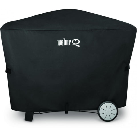 Weber 7112 Premium Grill Cover with Storage Bag for Q 2000 & 3000 Series Gas Grills on Patio Cart