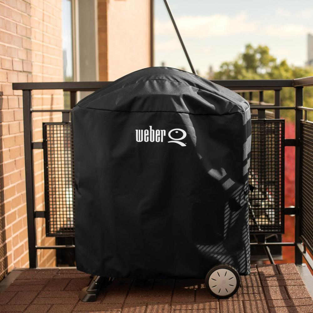 Weber 7113 Premium Grill Cover with Storage Bag for Q 100/1000 or 200/2000 Series Gas Grills on Rolling Cart