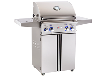 "24"" American Outdoor Grill L-Series On Cart Grill w/ Lights and Rotisserie, Natural Gas"