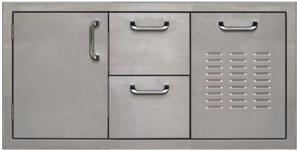 PCM 260 Series Single Door Double Drawer and Trash 42 Inch Left