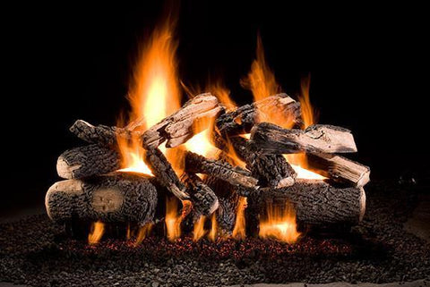 Hargrove Gas Logs Kodiak Char Double Stack Vented Gas Log Set With E-Burner, Liquid Propane