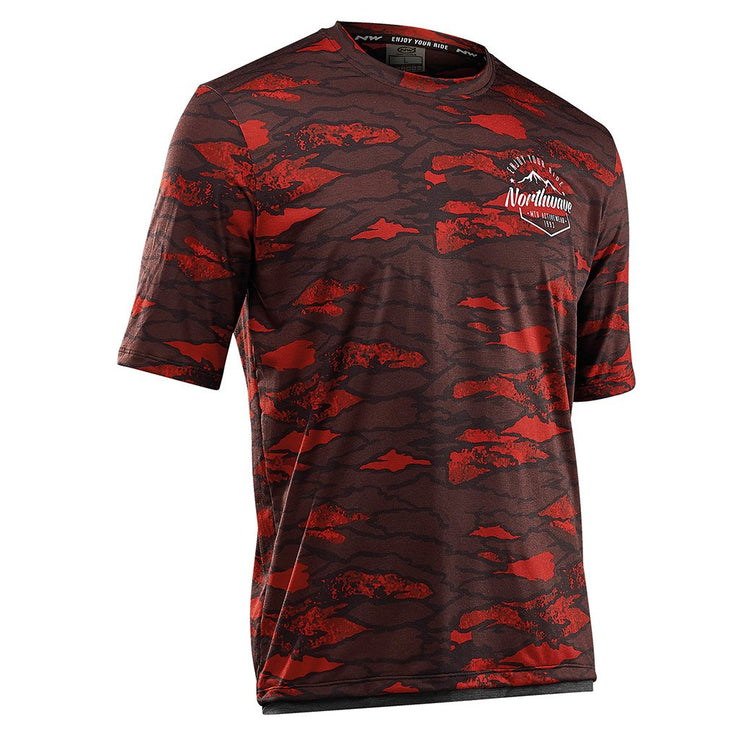 Northwave Cycling Jersey MTB Enduro Short Sleeves Petroleum Red - Cyclop.in